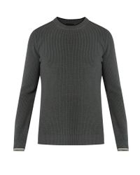 Lanvin | Gray Striped-cuff Cotton And Wool-blend Sweater for Men | Lyst