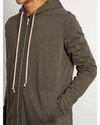 Rick Owens - Gray Hooded Zip-through Cotton Sweatshirt for Men - Lyst
