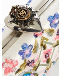 Alexander McQueen - Multicolor Heart-clasp Floral-embellished Satin Box Clutch - Lyst
