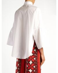 Valentino - White Mandarin-collar Wide-sleeve Cotton-poplin Shirt - Lyst