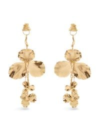 Balenciaga - Metallic Flower Drop Earrings - Lyst