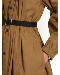 Lemaire Brown Gathered-neck Cotton-blend Coat