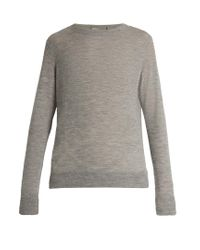 VINCE   Gray Distressed Crew-neck Cashmere Sweater   Lyst