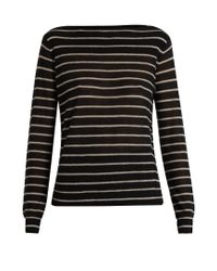 VINCE | Black Striped Cashmere Sweater | Lyst