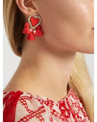 Shourouk - Red Pompon Heart Clip-on Earrings - Lyst