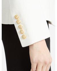 Balmain | White Double-breasted Cotton-piqué Blazer | Lyst