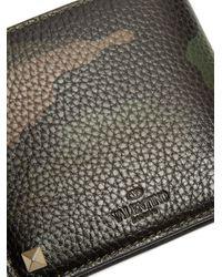 Valentino | Multicolor Rockstud Camouflage-print Bi-fold Leather Wallet for Men | Lyst