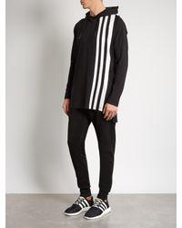Y-3 - Black Striped Long-line Hooded Top for Men - Lyst