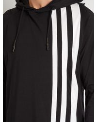 Y-3 | Black Striped Long-line Hooded Top for Men | Lyst