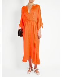 Maison Rabih Kayrouz - Orange Tie-waist Charmeuse Dress - Lyst