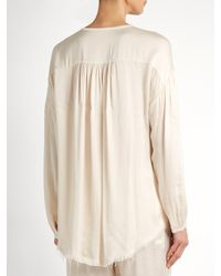 Raquel Allegra - Natural Round-neck Raw-hem Satin Blouse - Lyst
