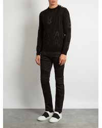 Balmain - Black Moiré-effect Cotton-blend Knit Sweater for Men - Lyst
