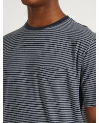Sunspel - Blue Striped Cotton-jersey T-shirt for Men - Lyst