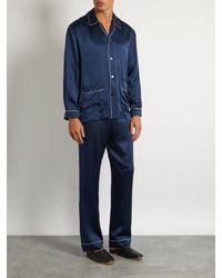 Meng - Blue Contrast-piping Silk-satin Pyjama Top for Men - Lyst