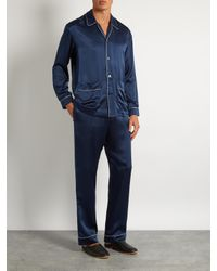 Meng - Blue Contrast-piping Silk-satin Pyjama Trousers for Men - Lyst