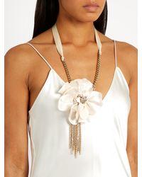 Lanvin - Natural Crystal-embellished Flower Choker Necklace - Lyst