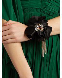 Lanvin - Black Crystal-embellished Flower Bracelet - Lyst