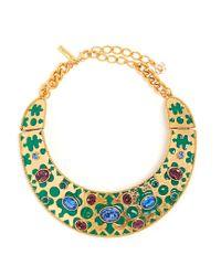 Oscar de la Renta | Green Crystal-embellished Necklace | Lyst