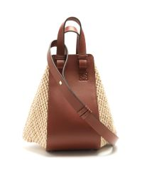 Loewe | Brown Hammock Small Raffia And Leather Tote | Lyst