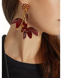 Marni | Red Crystal And Flower-drop Earrings | Lyst