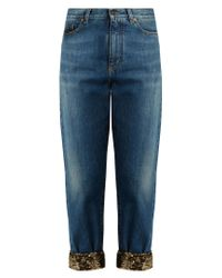 Saint Laurent - Blue Sequin-hem Mid-rise Boyfriend Jeans - Lyst