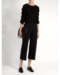 The Row - Black Maria Wide-leg Silk-blend Cropped Trousers - Lyst