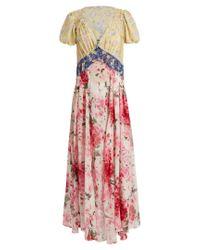 Attico | Multicolor Natalia Floral-print V-neck Silk Dress | Lyst