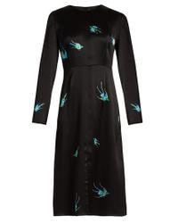 Diane von Furstenberg | Black Swallow-print Hammered-silk Dress | Lyst