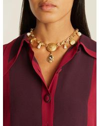 Dolce & Gabbana - Metallic Crest-embossed Necklace - Lyst