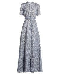 Luisa Beccaria | Blue Floral-embroidered Cotton-blend Dress | Lyst