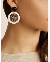 Marni - White Crystal-embellished Hoop Drop Earrings - Lyst