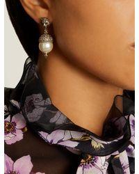 Gucci | Metallic Feline Pearl-effect Embellished Earrings | Lyst