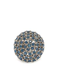 Oscar de la Renta   Blue Crystal-embellished Dome Ring   Lyst