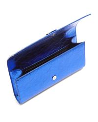Saint Laurent - Blue Kate Leather Clutch - Lyst