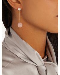 Delfina Delettrez - Multicolor Pearl, Rose-chalcedony & Yellow-gold Earring - Lyst