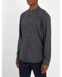 Massimo Alba - Gray Granddad-collar Modal And Cotton-blend Shirt for Men - Lyst