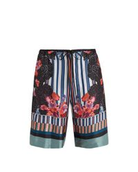 Meng - Multicolor Floral-print And Striped Silk-satin Pyjama Shorts for Men - Lyst
