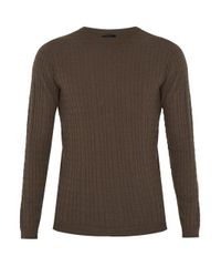 Giorgio Armani - Natural Crew-neck Wool-blend Sweater for Men - Lyst