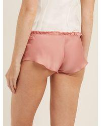 Carine Gilson - Pink Lace-trimmed Silk-satin Pyjama Shorts - Lyst