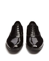 Prada - Black Patent-leather Derby Shoes for Men - Lyst