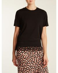 MUVEIL - Black Tulle-trimmed Cotton-blend T-shirt - Lyst
