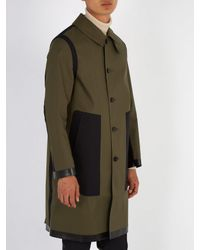 Mackintosh - Green Contrast-panel Bonded-cotton Overcoat for Men - Lyst
