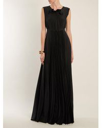 Rochas - Black Pleated-silk Gown - Lyst