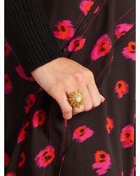 Oscar de la Renta - Metallic Faux-pearl Embellished Sun-star Ring - Lyst
