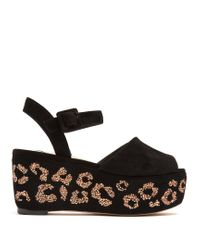 Sophia Webster | Multicolor Suki Crystal-embellished Suede Flatform Sandals | Lyst