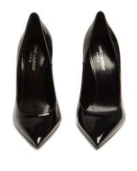 Saint Laurent - Black Opium Logo-heel Patent-leather Pumps - Lyst