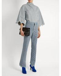 Toga - Blue Frayed-hem Striped Straight-leg Jeans - Lyst