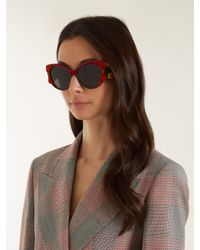 Prada - Velvet-covered Cat-eye Sunglasses - Lyst