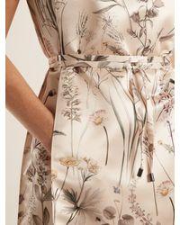 Bottega Veneta - Natural Floral Print Pintucked Detail Satin Dress - Lyst