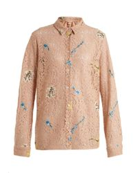 N°21 | Multicolor Floral-embroidered Lace Cotton-blend Shirt | Lyst